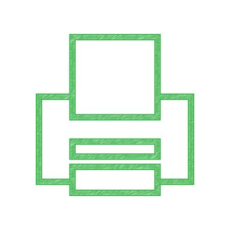 Printer sign. Green scribble Icon with solid contour on white background.  イラスト・ベクター素材