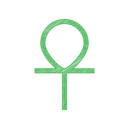 Ankh symbol, egyptian word for life, symbol of immortality. Green scribble Icon with solid contour on white background. Illustration.  イラスト・ベクター素材