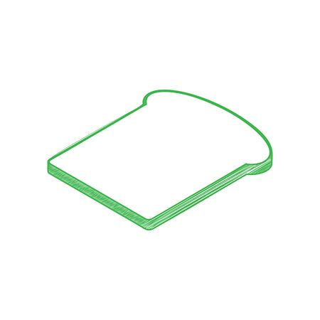 Bread slices sign. Green scribble Icon with solid contour on white background.