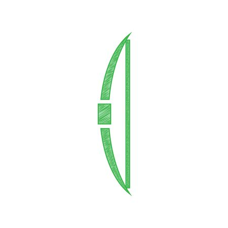 Old bow sign. Green scribble Icon with solid contour on white background. Vektorové ilustrace
