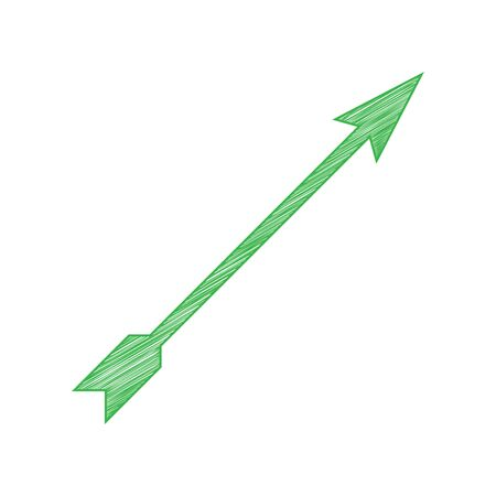 Arrow sign. Green scribble Icon with solid contour on white background. Illustration.