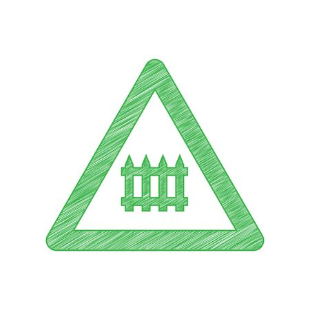 Railway Intersection sign. Green scribble Icon with solid contour on white background.