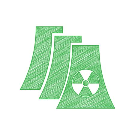 Nuclear power plant sign. Green scribble Icon with solid contour on white background.  イラスト・ベクター素材