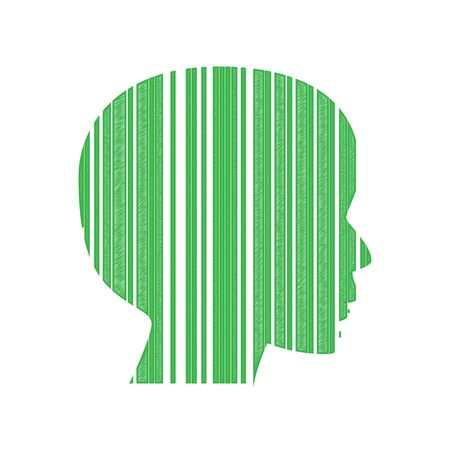 Face Barcode sign. Green scribble Icon with solid contour on white background.
