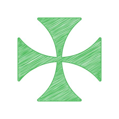 Maltese cross sign. Green scribble Icon with solid contour on white background.