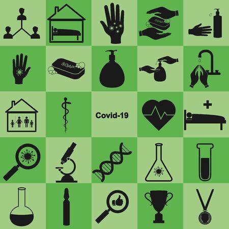 Covid global epidemic prevention and treatment flat icons set. Vektorové ilustrace