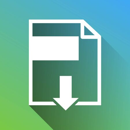 File download sign. White Icon with gray dropped limitless shadow on green to blue background.