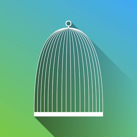 Bird cage sign. White Icon with gray dropped limitless shadow on green to blue background.