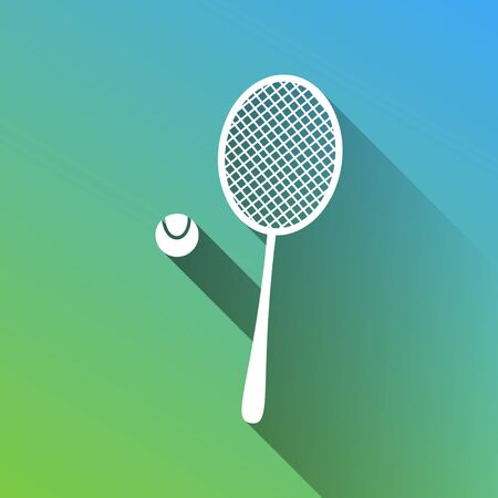 Tennis racquet with ball sign. White Icon with gray dropped limitless shadow on green to blue background.