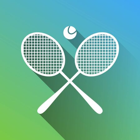 Two tennis racket with ball sign. White Icon with gray dropped limitless shadow on green to blue background.