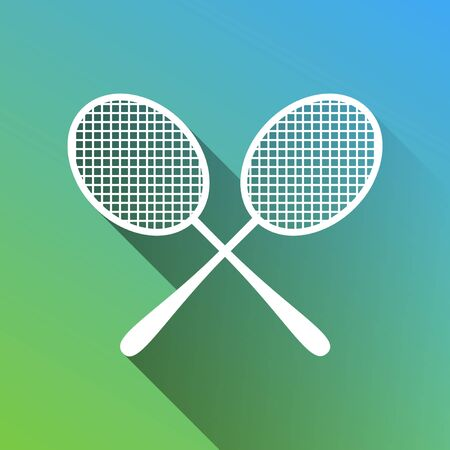 Two tennis racket sign. White Icon with gray dropped limitless shadow on green to blue background.