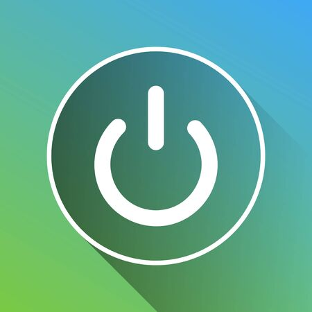 On Off switch sign. White Icon with gray dropped limitless shadow on green to blue background.