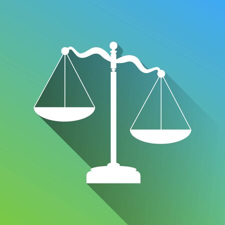 Scales of Justice sign. White Icon with gray dropped limitless shadow on green to blue background.