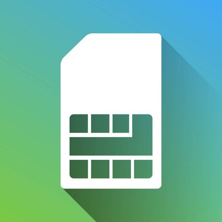 Sim card sign. White Icon with gray dropped limitless shadow on green to blue background.