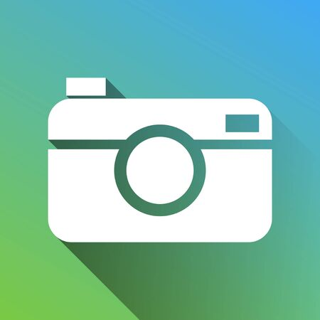 Digital photo camera sign. White Icon with gray dropped limitless shadow on green to blue background.