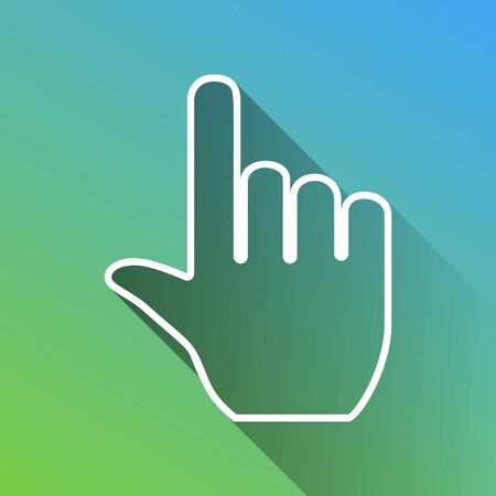 Hand sign illustration. White Icon with gray dropped limitless shadow on green to blue background. Illustration