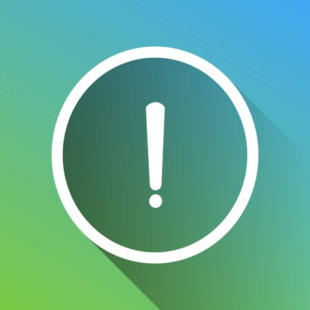 Exclamation mark sign. White Icon with gray dropped limitless shadow on green to blue background.