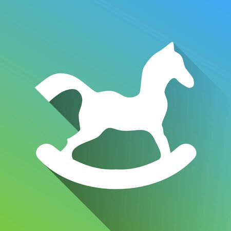 Horse toy sign. White Icon with gray dropped limitless shadow on green to blue background. Illustration.