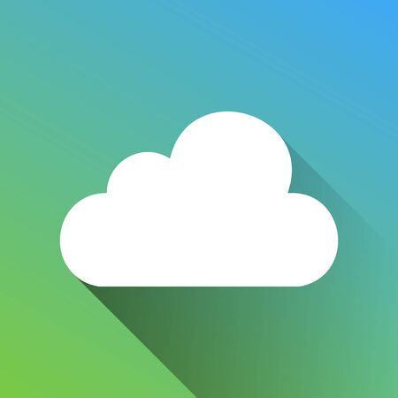 Cloud sign illustration. White Icon with gray dropped limitless shadow on green to blue background.