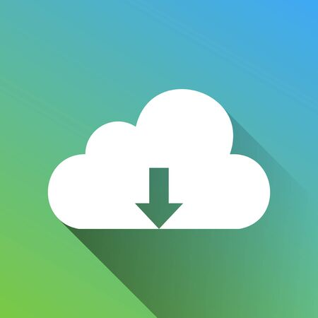 Cloud technology sign. White Icon with gray dropped limitless shadow on green to blue background.