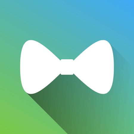 Bow Tie icon. White Icon with gray dropped limitless shadow on green to blue background. Illustration