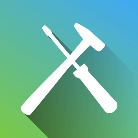 Tools sign illustration. White Icon with gray dropped limitless shadow on green to blue background.