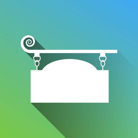 Wrought iron sign for old-fashioned design. White Icon with gray dropped limitless shadow on green to blue background. Vecteurs