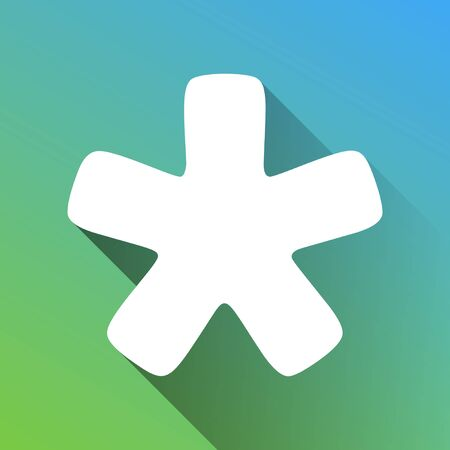 Asterisk star sign. White Icon with gray dropped limitless shadow on green to blue background.
