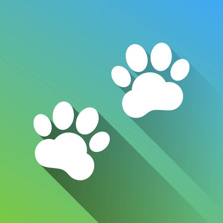 Animal Tracks sign. White Icon with gray dropped limitless shadow on green to blue background. Illustration