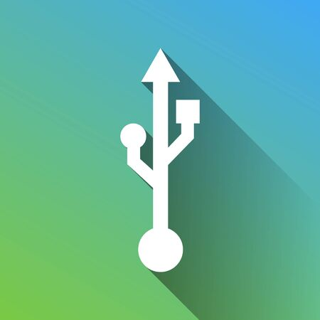 USB sign illustration. White Icon with gray dropped limitless shadow on green to blue background.