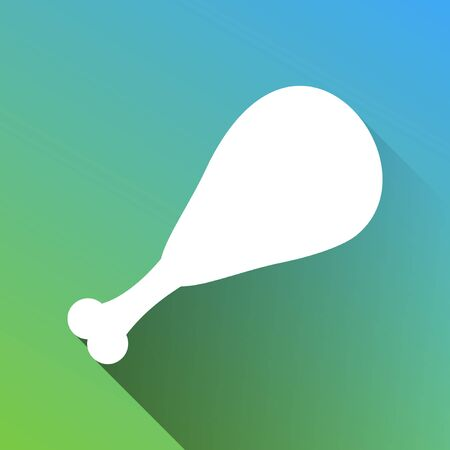 Chicken leg sign. White Icon with gray dropped limitless shadow on green to blue background.