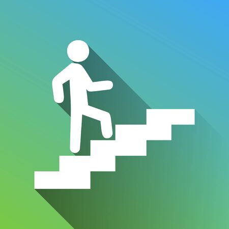 Man on Stairs going up. White Icon with gray dropped limitless shadow on green to blue background.