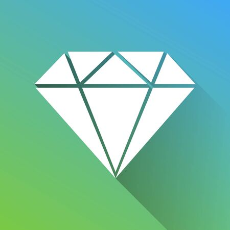 Diamond sign illustration. White Icon with gray dropped limitless shadow on green to blue background.
