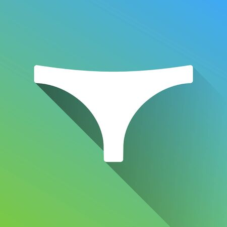 Women's panties sign. White Icon with gray dropped limitless shadow on green to blue background.