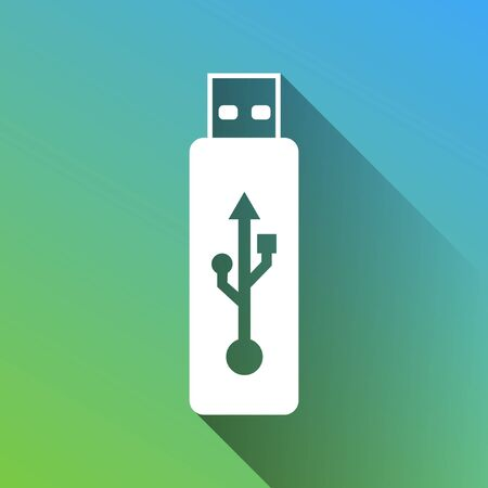 USB flash drive sign. White Icon with gray dropped limitless shadow on green to blue background.