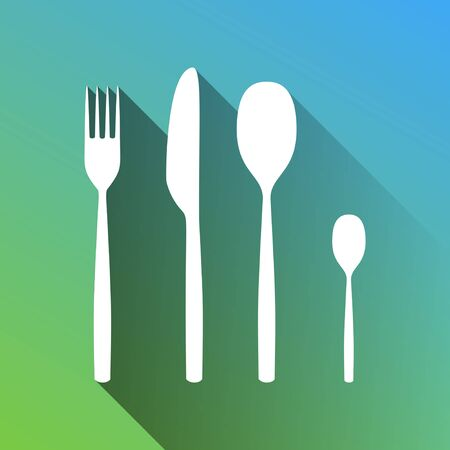 Fork spoon and knife sign. White Icon with gray dropped limitless shadow on green to blue background. Ilustrace