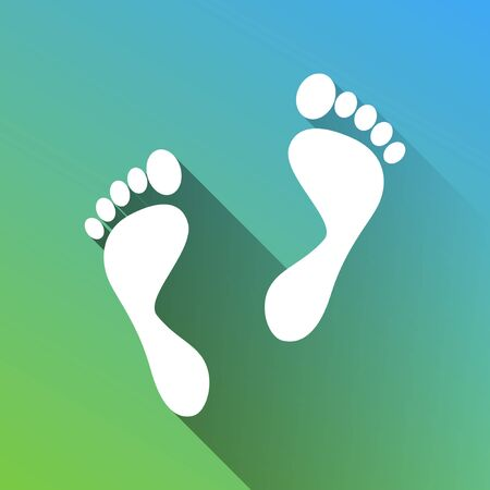 Foot prints sign. White Icon with gray dropped limitless shadow on green to blue background.