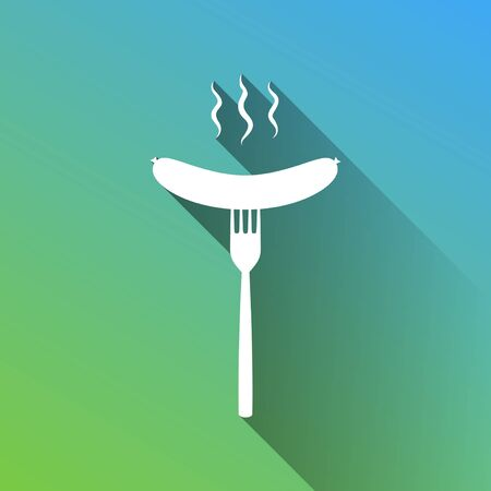 Sausage on fork sign. White Icon with gray dropped limitless shadow on green to blue background. Stock Illustratie