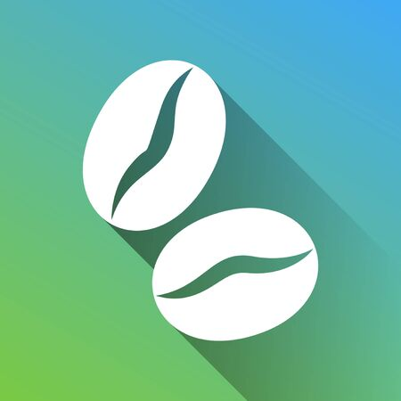 Coffee beans sign. White Icon with gray dropped limitless shadow on green to blue background.