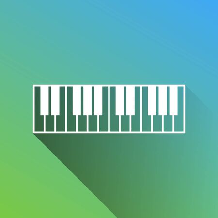 Piano Keyboard sign. White Icon with gray dropped limitless shadow on green to blue background.
