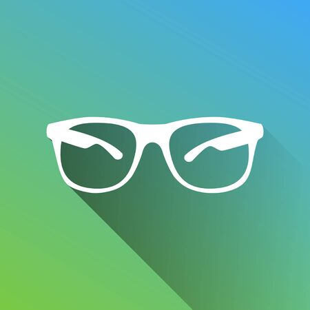 Sunglasses sign illustration. White Icon with gray dropped limitless shadow on green to blue background.