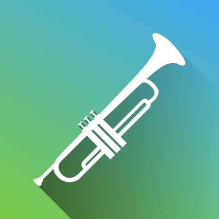 Musical instrument Trumpet sign. White Icon with gray dropped limitless shadow on green to blue background.
