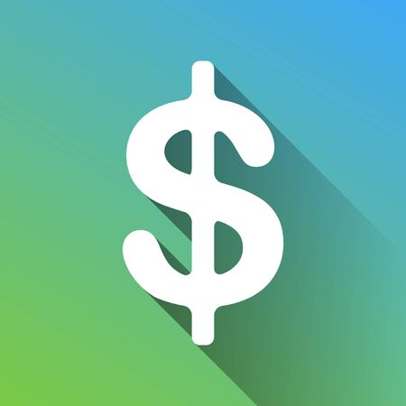 Dollars sign illustration. USD currency symbol. Money label. White Icon with gray dropped limitless shadow on green to blue background. Illusztráció