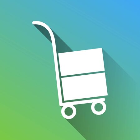 Hand truck sign. White Icon with gray dropped limitless shadow on green to blue background.