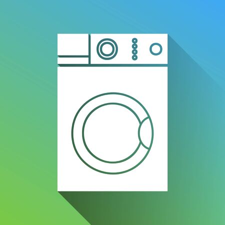 Washing machine sign. White Icon with gray dropped limitless shadow on green to blue background.