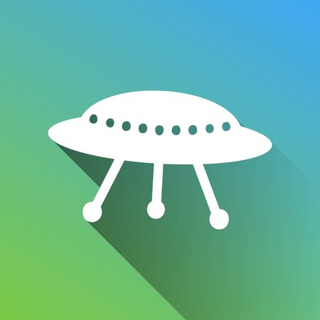 UFO simple sign. White Icon with gray dropped limitless shadow on green to blue background.