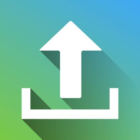 Upload sign illustration. White Icon with gray dropped limitless shadow on green to blue background.