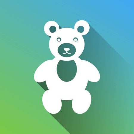 Teddy bear sign illustration. White Icon with gray dropped limitless shadow on green to blue background. Vettoriali