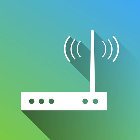 Wifi modem sign. White Icon with gray dropped limitless shadow on green to blue background.