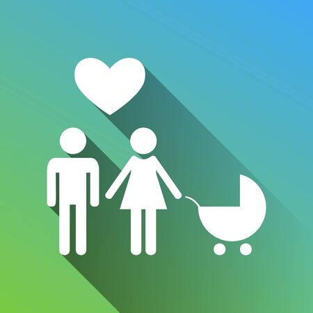 Family with heart. Husband, wife with baby. White Icon with gray dropped limitless shadow on green to blue background.